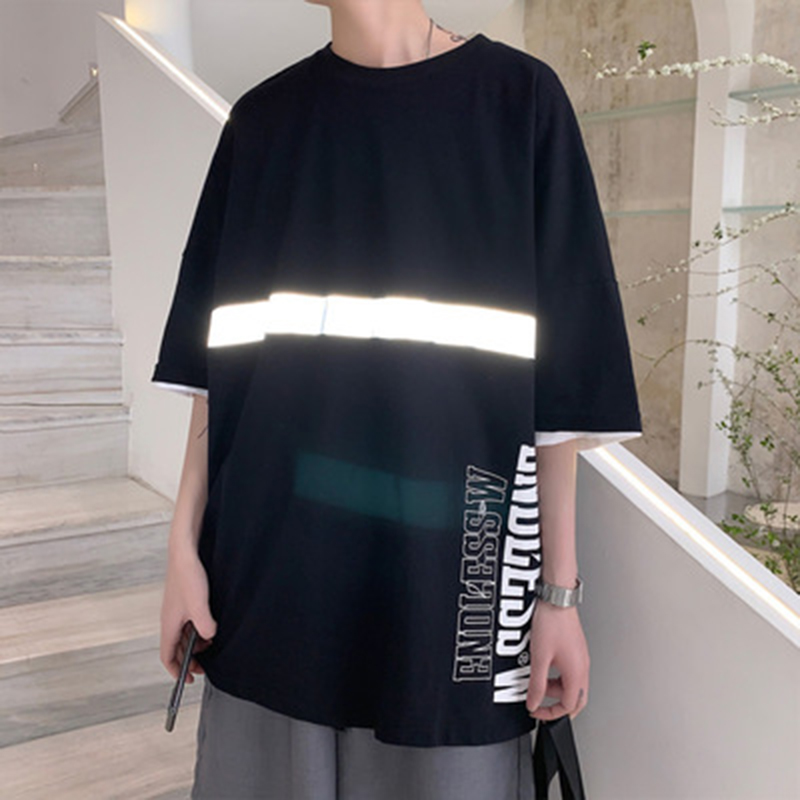 2020 summer Round neck Reflective luminous print <font><b>Hong</b></font> <font><b>Kong</b></font> style men loose T-shirt cotton casual couple <font><b>tshirts</b></font> plus size M-3XL image