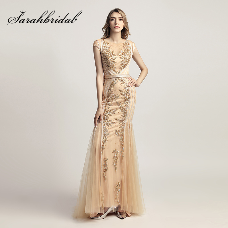 Elegant Gold Long Mermaid Evening Dresses With Beaded Sequined Tulle Cap Sleeve Plus Size Women Party Gowns Real Pictures LX296