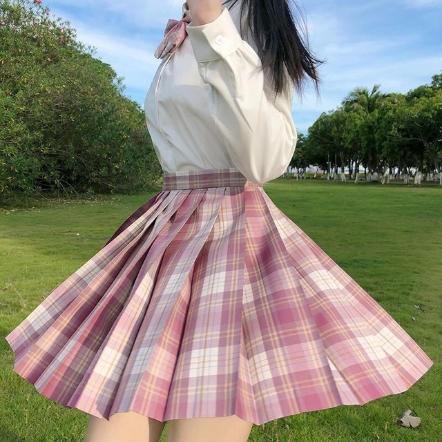 Kawaii Skirt Harajuku Plaid Pleated Mini Skirt 2021 Women Girl Summer High Waist Cosplay Lolita Preppy Style Sweet School JK1001 4