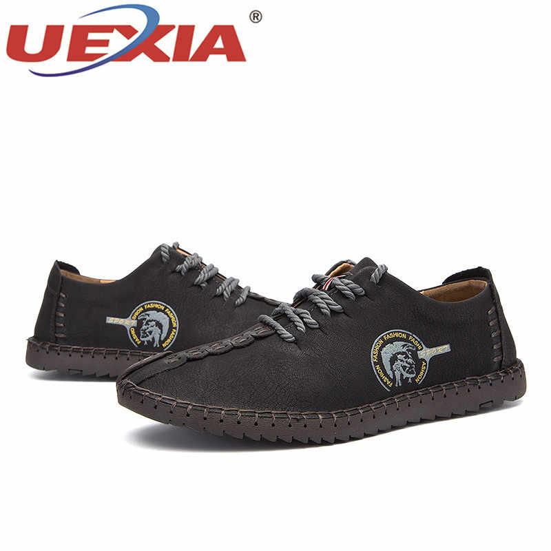UEXIA באיכות גבוהה בעבודת יד נוח שטוח גדול גודל 38-46 נעליים יומיומיות נעלי נעלי גברים באיכות פיצול עור דירות מוקסינים