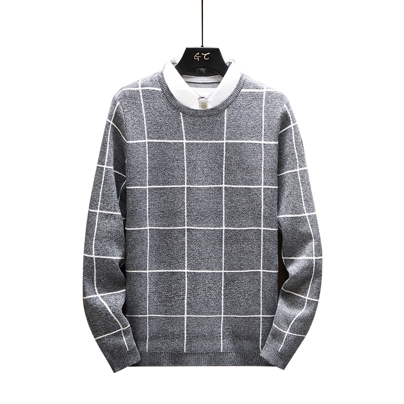 Winter Faked Two Pieces Thick Warm Sweater Men Turn Down Collar Sweaters Slim Fit Pullover Men Plaid Knitwear 3XL