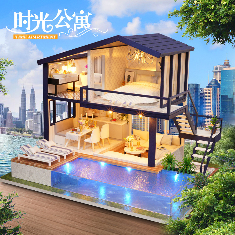 DIY Hut Hand-made Model Large Villa Super Hard Assembled House Princess GIRL'S Toy Birthday Gift