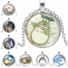 2019 New Ghibli Totoro Pattern Necklace Glass Cabochon Art Handmade Glass Dome Convex Photo Jewelry Gift Necklace Gift Chain цена