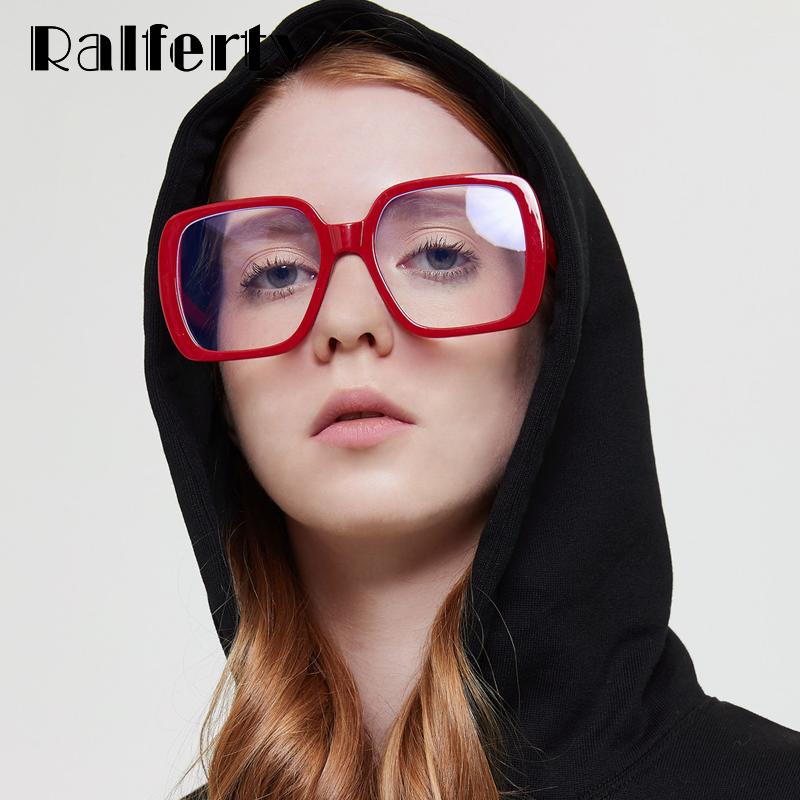 Ralferty Women S Glasses Frame Female Eyeglass Frame Oversized Square Red Clear Eye Glasses No Diopter Myopia Spectacle W192149 Women S Eyewear Frames Aliexpress