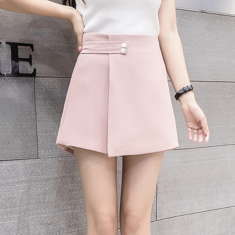 2019 New Women Shorts Skirts Spring Fashion High Waist Shorts Female Casual Loose Culottes Woman Black/Pink/White Summer Shorts