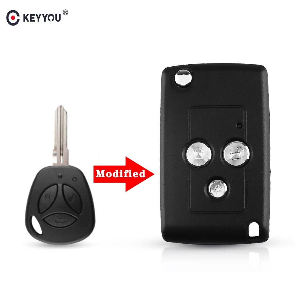 Дизайн KEYYOU, 3 кнопочный модифицированный складной сменный автомобильный чехол-брелок для дистанционного управления Lada