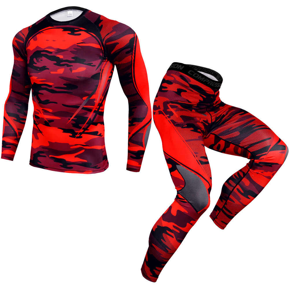 Mens Sport Running Set Compressie T-shirt + Broek Strakke Lange Mouwen Fitness Rashguard Mma Training Kleding Gym Yoga suits