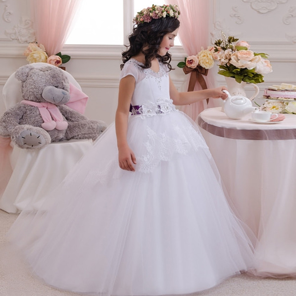 White 2019   Flower     Girl     Dresses   For Weddings Ball Gown Cap Sleeeves Tulle Lace Beaded Long First Communion   Dresses   Little   Girl