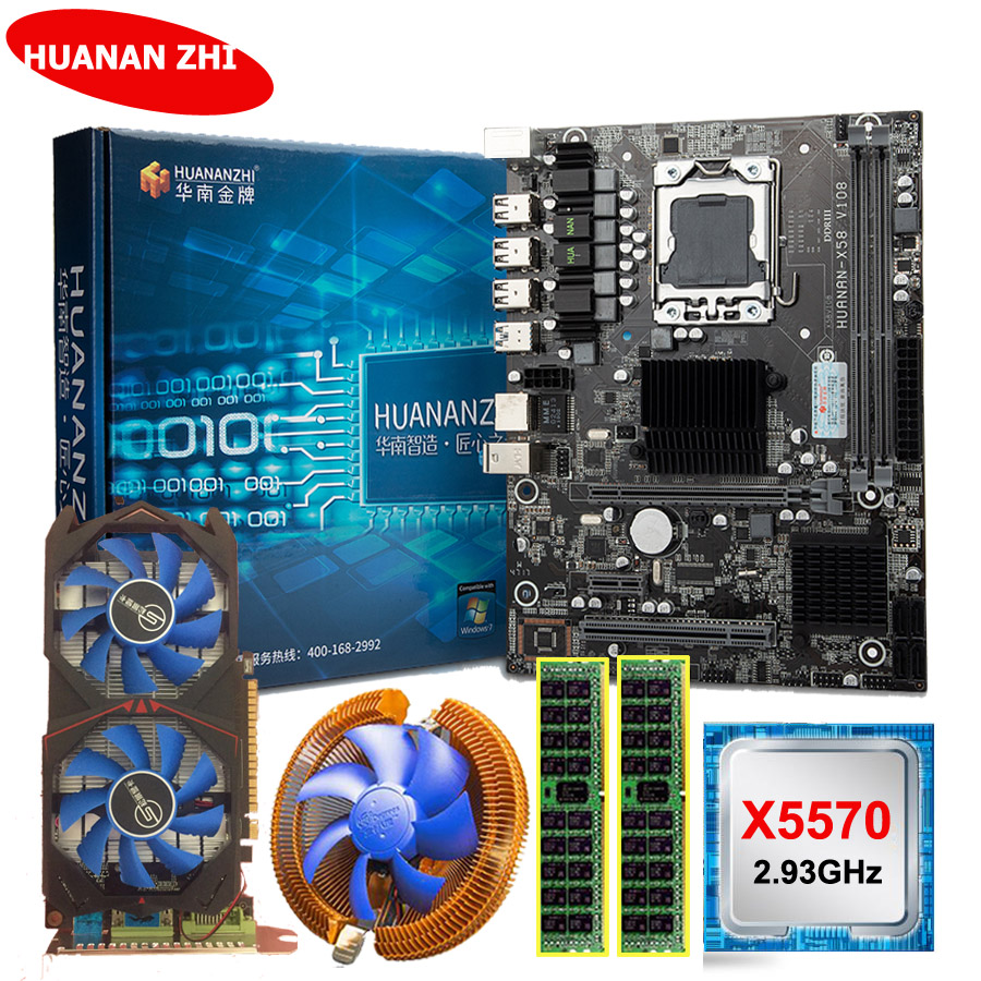 HUANANZHI X58 LGA1366 Motherboard Bundle Motherboard With CPU Intel Xeon X5570 2.93GHz RAM 8G(2*4G) RECC GTX750Ti 2G Video Card