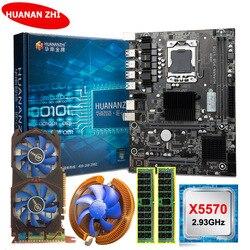 Huananzhi X58 LGA1366 Moederbord Bundel Moederbord Met Cpu Intel Xeon X5570 2.93 Ghz Ram 8G (2*4 g) recc GTX750Ti 2G Videokaart