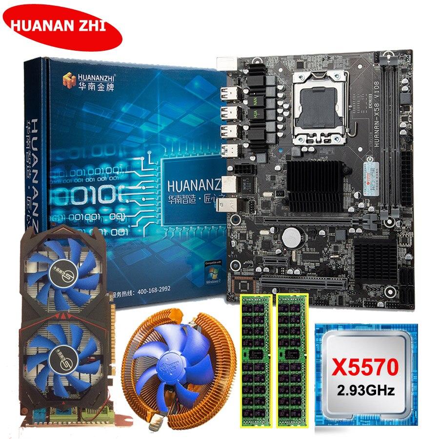 Huananzhi x58 lga1366 placa-mãe pacote com cpu intel xeon x5570 2.93 ghz ram 8g (2*4g) recc gtx750ti 2g placa de vídeo