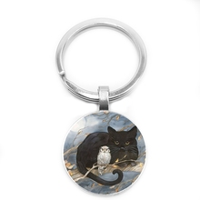 2019 New Fashion Hot Owl Glass Round Pattern Key Ring Men and Women Trend Classic Keychain
