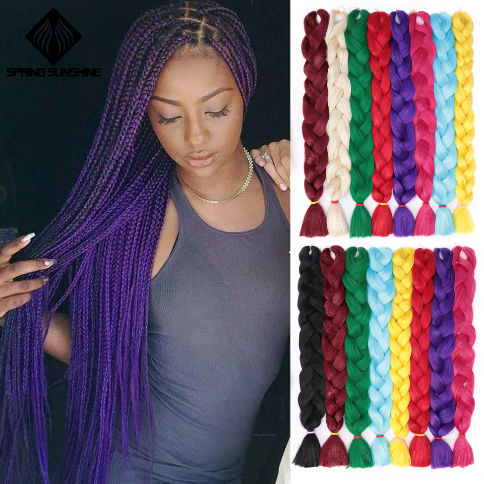 Spring Sunshine 165g 1 3 5PCS Synthetic Braiding Hair Jumbo Braids Crochet Braids Hair Extensions Pure Color