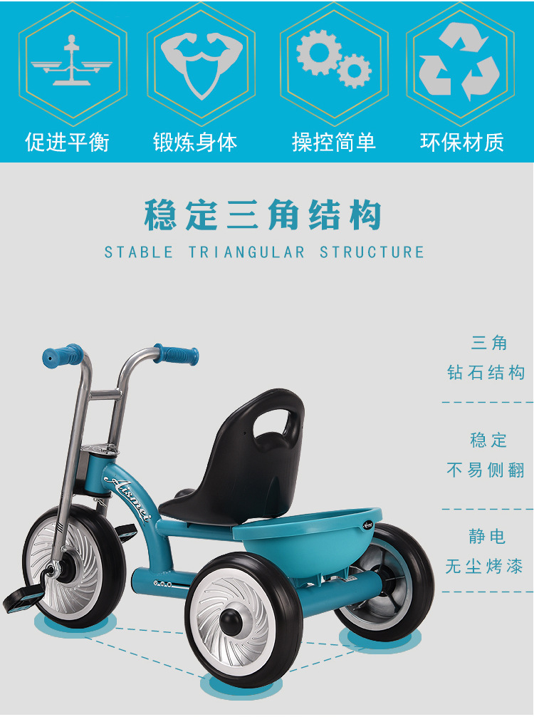 Children's tricycle 1-2-4-6 years old bicycle stroller baby outdoor pedal riding tricycle novice boy girl birthday gift