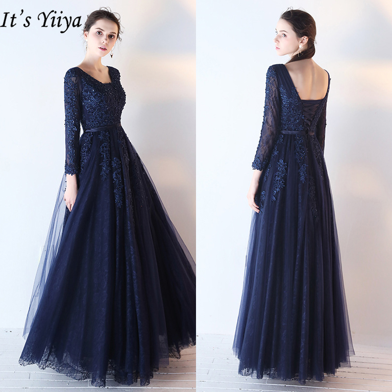 It's Yiiya Evening Dress 2019 Elegant Long Sleeve Formal Dresses Appliques Embroidery Beading Backless Robe De Soiree E925