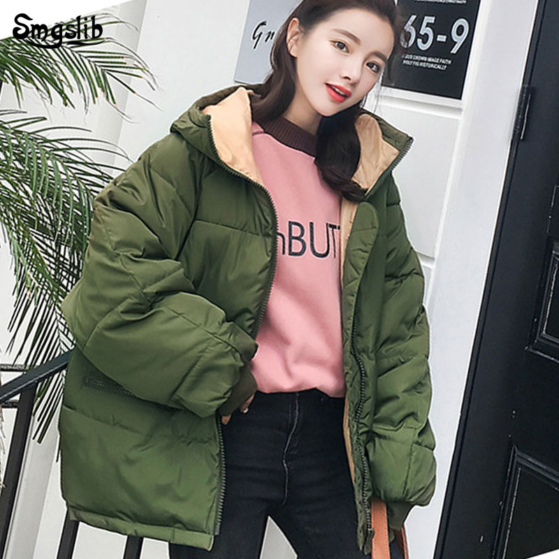 2019 Winter Jacket Women Oversize Real New Full Zipper Solid Fashion Cotton Cotton-padded Jacket More Big Yards Hooded Warm