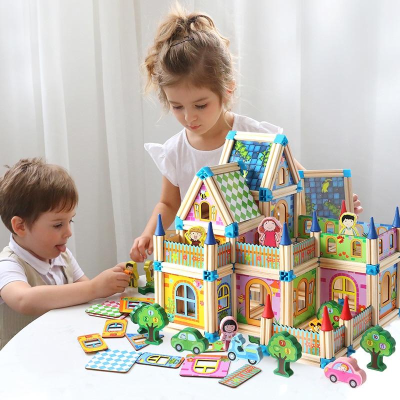 Montessori Puppe Haus Miniatur DIY Puppenhaus Holz Gebäude BlocksHouse 128 stücke /268 stücke Spielzeug Für Kinder Geschenke Urlaub Mal