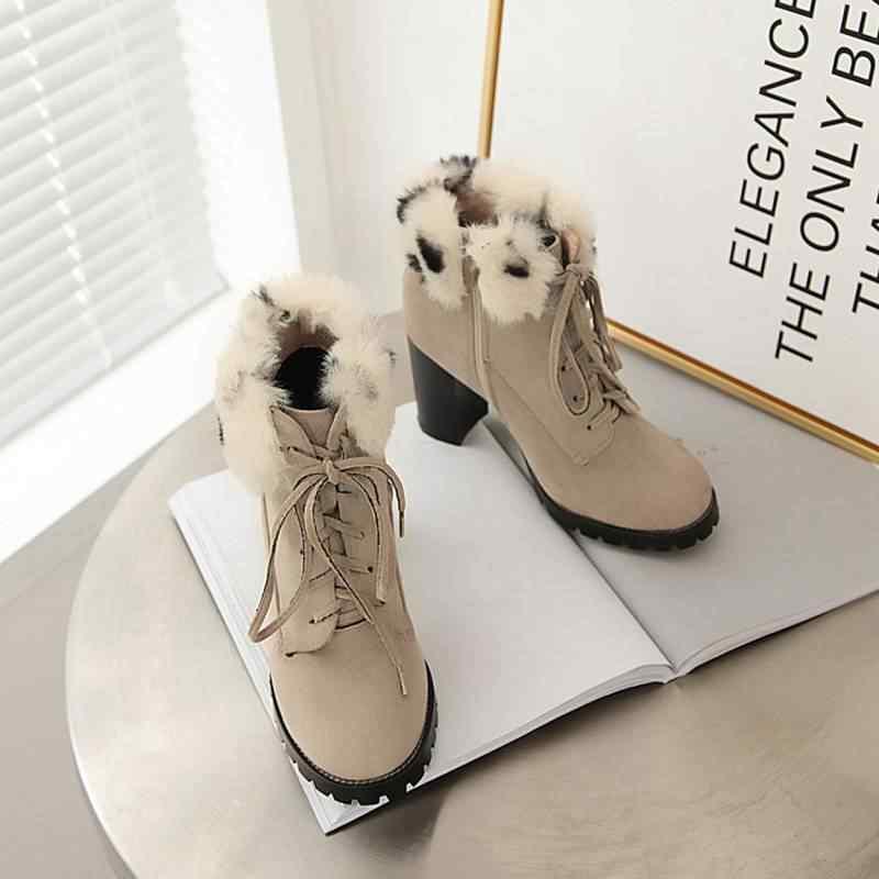 REAVE KEDI Kadın Orta buzağı Botları Sıcak Kürk Sahte süet Yuvarlak Ayak Süper yüksek Kare Kalın Topuk Platformu lace Up çapraz bağlı Boyutu 34-43