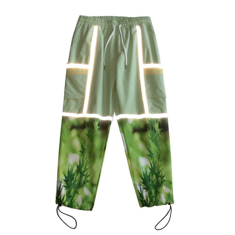 Pantalones informales con contraste con paneles reflectantes de 3M para hombres y mujeres, pantalones bombachos holgados de estilo urbano de Hip Hop