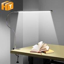 Lámpara LED de brazo largo para estudio, 48 LED, abrazadera de montaje, lámparas de escritorio de oficina, USB, Flexible, protección ocular, luz de lectura