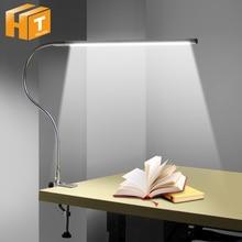 Lampa studyjna LED z długim ramieniem 48 diod LED mocowanie zaciskowe biurko lampy USB elastyczne światło do czytania z ochroną oczu.