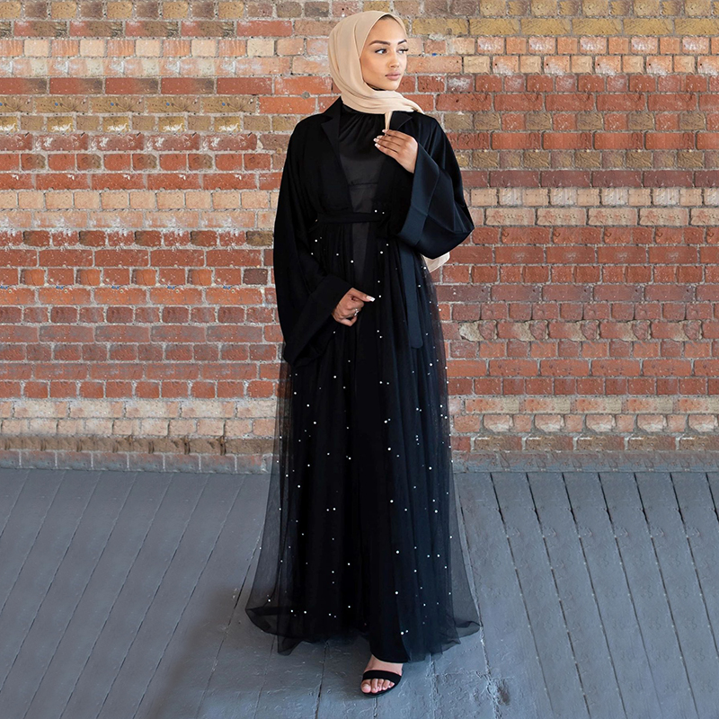 Siskakia 2020 Fashion Ins Dubai Abaya Middle Eastern Arabic Exquisite Lace Beaded Abaya Dress Open Front Kimono Islamic Clothing