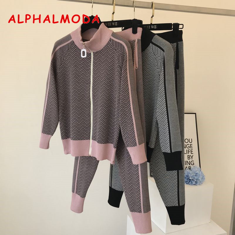 ALPHALMODA Autumn New Women Knitting Tracksuit Zipper Cardigans + Pants Female Winter Fashion Design 2pcs Sports Set