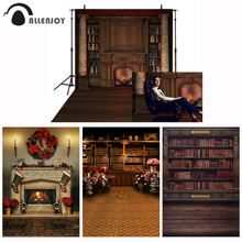 Allenjoy Shelves Backdrop For Photographic Studio Vintage Private Library Bookcase Fireplace Roman Column Photo Background
