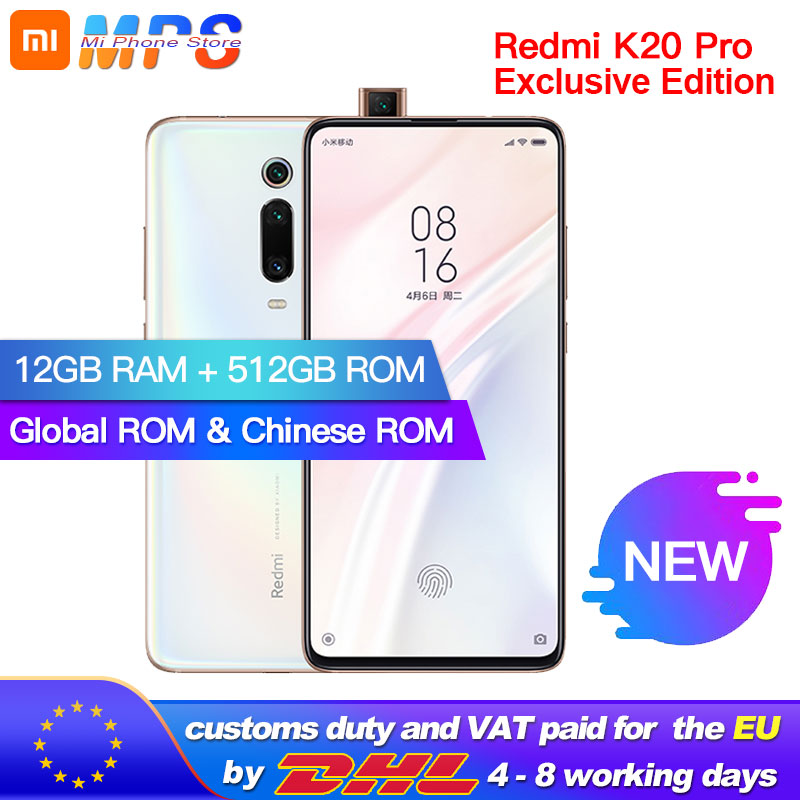 ROM globale Xiaomi Redmi K20 Pro 12GB 512GB Smartphone Snapdragon 855 plus Octa Core 4000mAh 48MP Triple caméras 6.39''