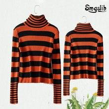 streetwear striped casual sweaters women autumn 2019 turtleneck long sleeve jumpers pullover slim knit mujer