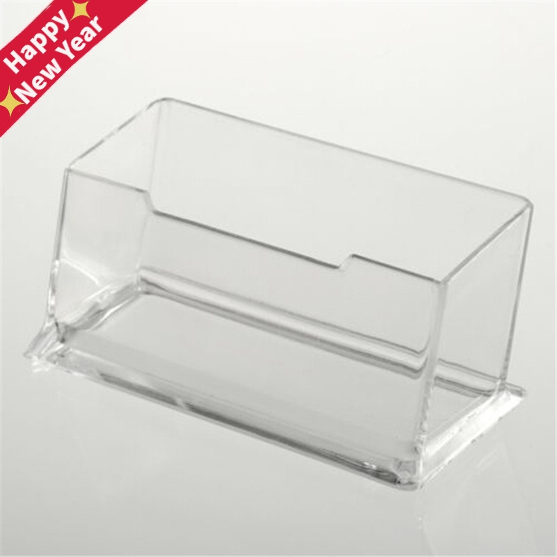 Clear Desk Shelf Box Storage Display Stand Acrylic Plastic Transparent Desktop Business Card Holder