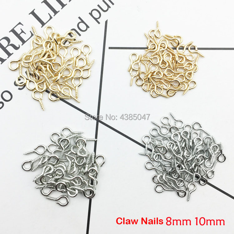 100PCS/Lot Golden/Silver Claw Nails Jewelry Accessories Fashion Alloy Material 4MM Diameter Rhodium Plating Pendant Making