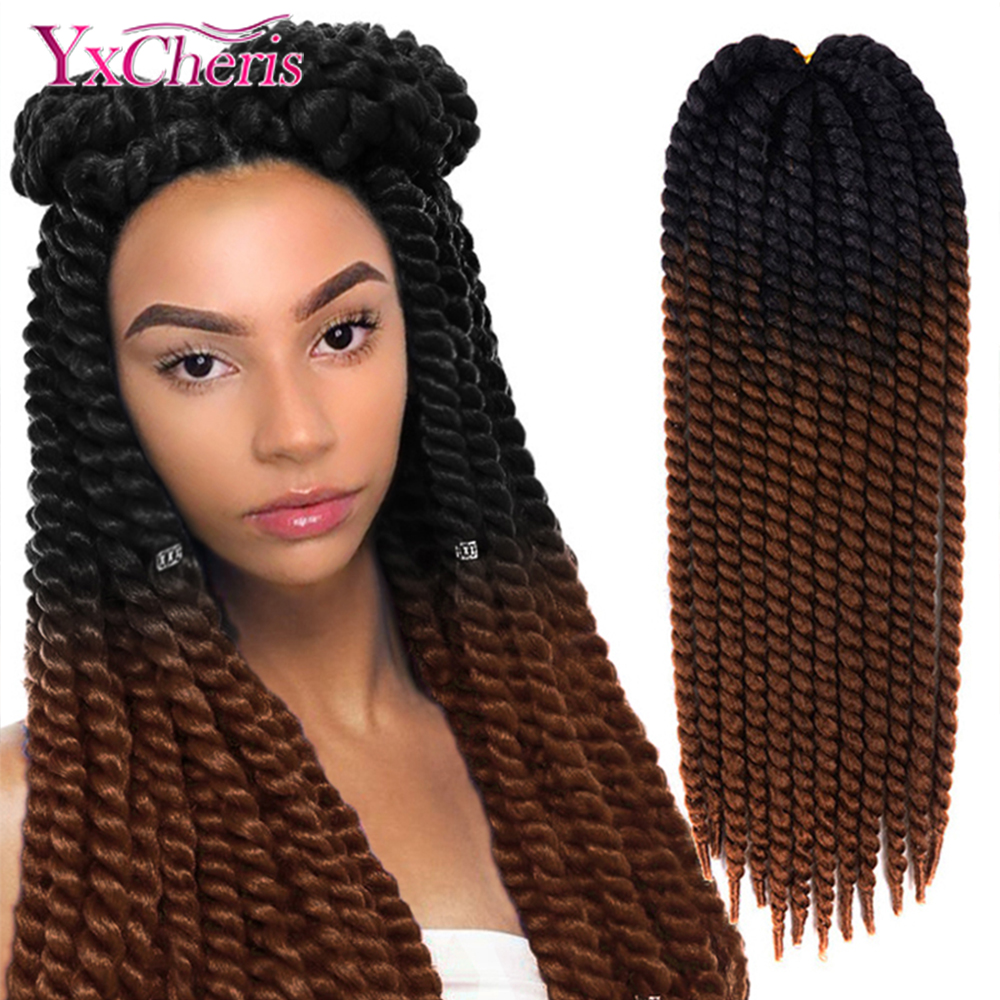 Havana Mambo Twist Hair Crochet Braids 22'' 120g 20 Color Ombre Synthetic Braiding Hair YxCherisHair