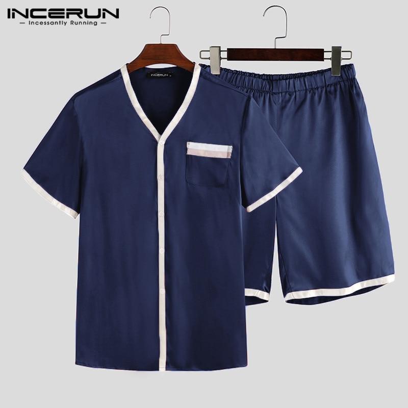 INCERUN Summer Men Soft Pajamas Sets Short Sleeve Pyjamas Tops Shorts 2020 Patchwork Breathable Fashion Sleepwear Sets Homewear