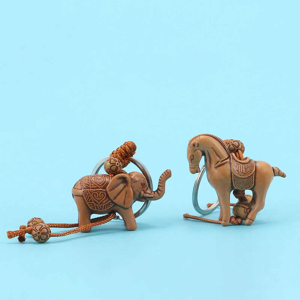 Bộ 2 Móc Khóa Gỗ 3D Voi Ngựa May Mắn Khắc Mặt Dây Chuyền Cá Tính Móc Khóa Quyến Rũ Tặng Accessorites Nữ/Người