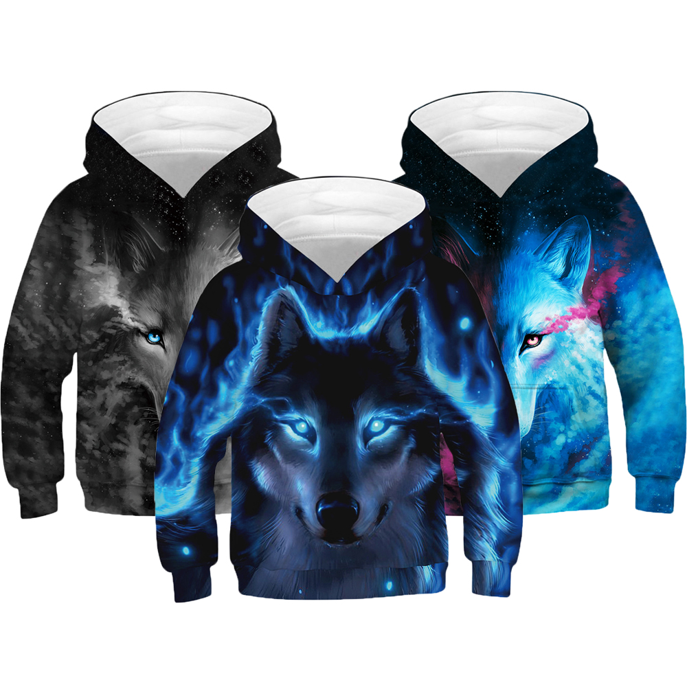 3D Print Wolf Boys Hoodies Coats Spring Autumn Outerwear Kids Hooded Sweatshirt Clothes Children Long Sleeve Pullover Tops