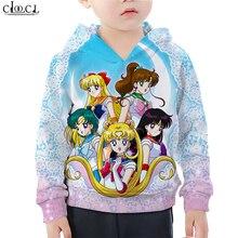 Çocuk bebek kız elbise Sailor ay Galaxy 3D Hoodie karikatür baskı kız bebek kazak bebek çocuk yürümeye başlayan spor kazak