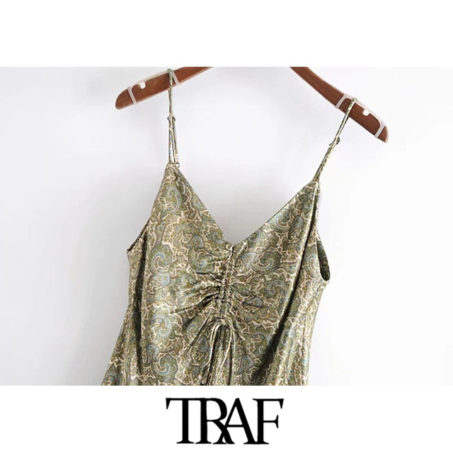 TRAF Women Chic Fashion With Bow Paisley Print Cozy Mini Dress Vintage V Neck Adjustable Straps Female Dresses Mujer 3