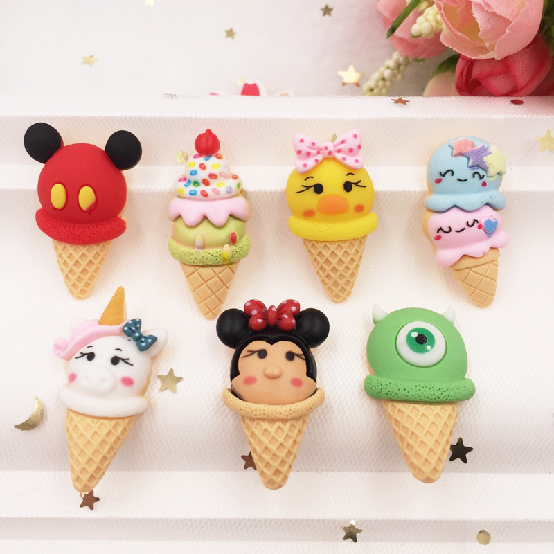 Hand Painted Resin Kawaii Colorful Ice Cream Flatback Cabochon Stone 7PCS Scrapbook DIY  Decor Home Figurine Crafts