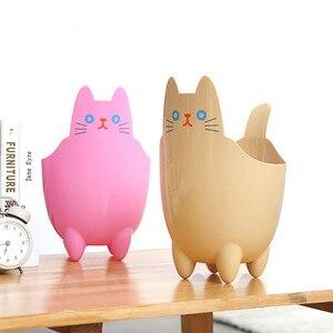 Image 4 - Poubelle créative pour bureau 1 pièce, Mini poubelle pour salon, chambre à coucher, sans couvercle, stockage de chat mignon