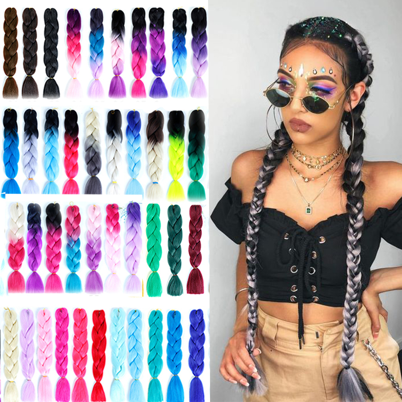 24 Inches Long Ombre Jumbo Braid Crochet Braiding Hair Pink Purple Blonde Synthetic High Temperture Fiber Hair Extensions LUPU