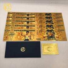 10 sztuk złotych banknotów Kungfu superstar Bruce Lee 10000 smoczych banknotów do kolekcji cheap KDLXG Patriotyzmu Pozłacane Antique sztuczna Durable waterproof unique Plastic about 166x72mm
