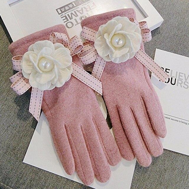 2020 Brand Gloves Winter Women Gloves Cashmere Mittens Female Big Flower Warm Wool Gloves Women Driving Gloves 6