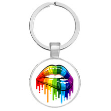 LGBT Bi Pride Keyrings Gay Pride Key Rings Hypoallwergenic Gay Pride Glass Cabochon Key Hoder Jewelry Llaveros Christmas Gifts(China)