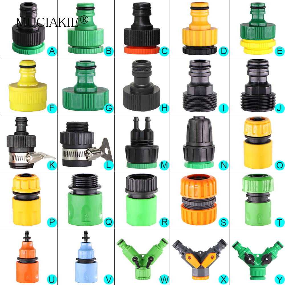 """H31583d5bf26e41b6825643d36dae1f13n MUCIAKIE Variety Style Garden Tap 1/2"""" 3/4"""" Male Female Thread Nipple Joint 1/4"""" Hose Quick Connector Irrigation Water Splitters"""