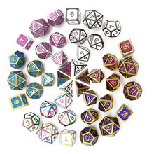Metal Dice Set Rpg Game Rpg Polyhedral Solid Dice Table Games Zinc Alloy Digital D&D Dice 7pcs D4 D6 D8 D10 D% D12 D20 Dnd Dices