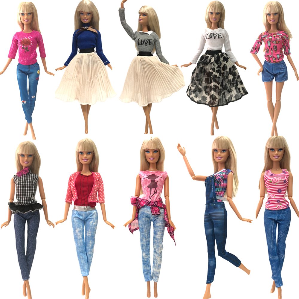 NK Handmade Outfit Mixed Style Dress Daily Casual Wear Blouse Fashion Pants Skirt Clothes For Barbie Doll Accessories Toy A3  JJ