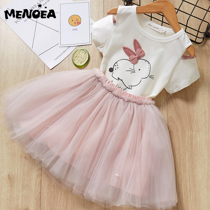 Menoea <font><b>Girls</b></font> <font><b>Dress</b></font> Cute Kids Clothes Rabbit Pattern <font><b>T</b></font>- <font><b>Shirt</b></font> + Mesh Ball Gown <font><b>Dress</b></font> 2Pcs for Princess <font><b>Dress</b></font> Children Clothing image