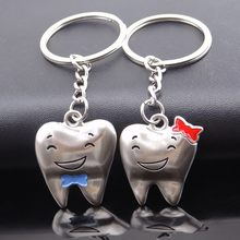 2pcs Couple Keychain Valentine's Day 1 Pair Kay Ring Lover Gift Cute Cartoon Teeth Key Chain For Girls Boys Metal Keyrings(China)