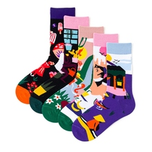 Women Men Harajuku Flower Cartoon Pattern Socks Funny Cotton Dress Casual Wedding Colorful Novelty Skateboard